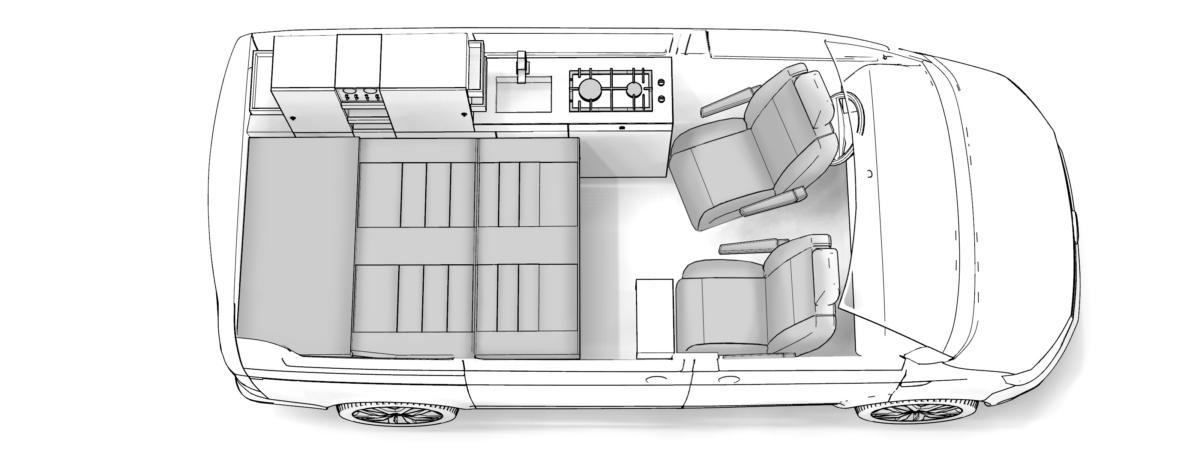 Grundriss Holzklasse breites Bett